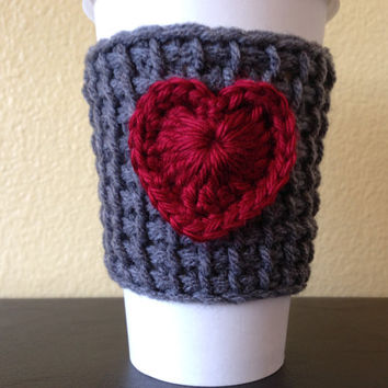 Gray Coffee Cup Cozy with Red Heart, Tunisian Crochet Coffee Cup Sleeve with Red  Heart, Reusable Eco Friendly
