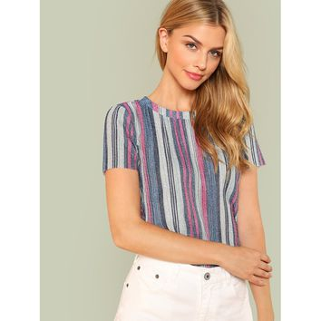 Multicolor Vertical Striped Glitter Blouse