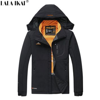 LALA IKAI Softshell Jacket Men Winter Windproof Thermal Outdoor Jacket Hiking Fishing Trekking Men's Windbreakers HMA1046-45