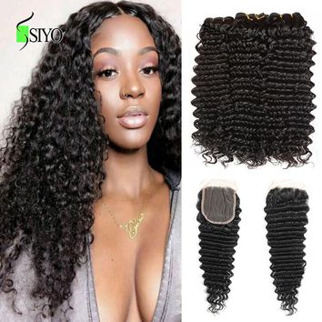 Siyo Brazilian Deep Curly 3 Bundles with Closure Wet and Wavy Human Hair Bundles with Lace Closure Deep Wave Hair Extension