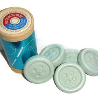 Vintage AVON Button Button SOAP Set UNUSED 5 Pastel Aqua Blue Guest Soaps Thread Sewing Novelty Seamstress Avon Collectible Hostess Gift