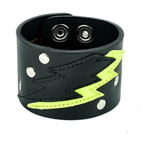 Neon Green Lighting Bolt Leather Wristband Metal Bracelet