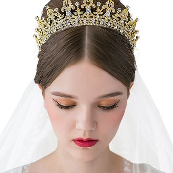 SWEETV Royal Wedding Crown CZ Crystal Pageant Tiara Bridal Headpiece Women Hair Jewelry, Gold+Clear
