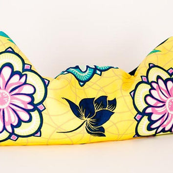Lavender eye pillow for wedding or baby showers, in bright yellow, pink and green with turquoise jewel toned back