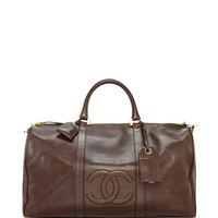 Chanel Brown Caviar Large Boston Bag