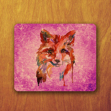 Fox Watercolor Mouse Pad Painting Animal Art Pink Beautiful MousePad Office Pad Work Accessory Personalized Custom Gift