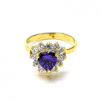Gold Layered Mult-stone Ring, Heart and Cluster Design, with Cubic Zirconia, Golden Tone