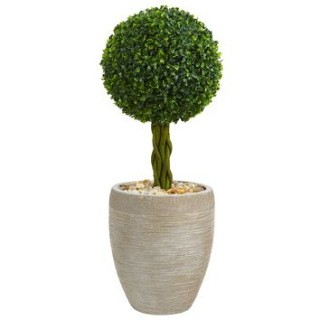 Artificial Tree -2.5 Foot Boxwood Ball Topiary Tree In Oval Planyers