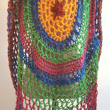 Crochet Circular Vest. Lotus Mandala Circular Vest. Size fits average medium/large. Made By Bead G's On ETSY. Long Bohemian Vest