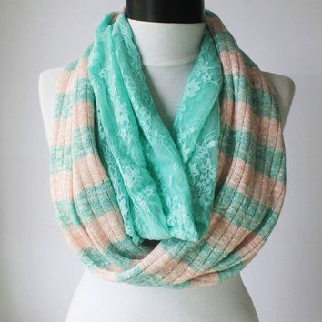 mint mesh lace scarf,scarf,long scarf,scarves,infinity scarf,scarf,