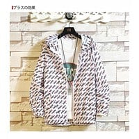 """Fendi"" Couple Casual Fashion Multicolor Letter Long Sleeve Hooded Zip Cardigan Coat"