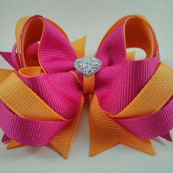 Hot Pink & Cream Orange Hair Bow with Sparkly Heart~ Pink Orange Stacked Boutique Hair Bow~ Gift for Girl~ Gift for Her~ Photo Prop~ Hairbow