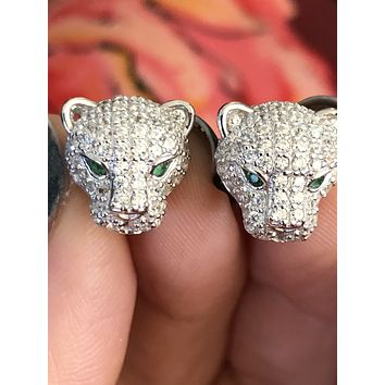 Classic Royal Panthere Stud Pave Earrings