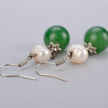 Earrings handmade designer beautiful with freshwater pearls and greenstone