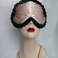 Quilted Silk Sleep Mask Light Beige Gold and Black Black Swarovski Crystals MISS DOLL by Love Me Sugar