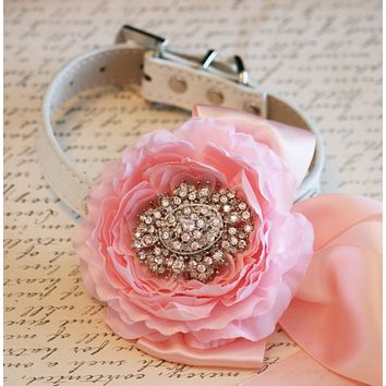 Pink Peonies Floral Dog Collar Pet Wedding Accessory, Pink and Blush wedding