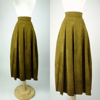 1980s suede skirt, fit and flare high waist tea length olive green brown full a line leather skirt, Small to medium