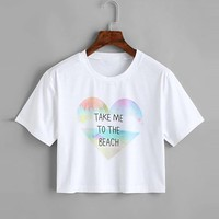 Ships From Usa - Take Me To The Beach - Cropped Graphic Tee