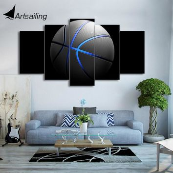 HD Printed 5 Piece Canvas Art Basketball Painting Blue light