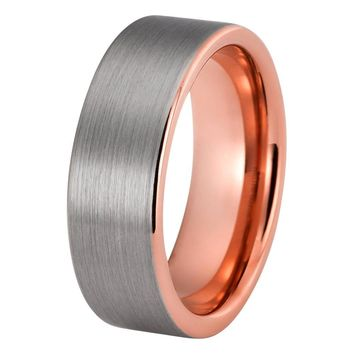 Tungsten Ring Rose Gold Brushed Silver Wedding Ring Tungsten Carbide 8mm 18K Tungsten Ring Mens Wedding Band Man Engagement Ring Women Promise Anniversary His Hers Matching Silver Rose Gold Ring