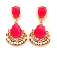 Janali Crystal Earring In Hot Pink