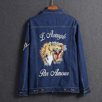 ESBON GUCCI Embroidery Tiger Fashion Long Sleeve Denim Cardigan Jacket Coat