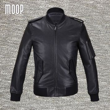 Black genuine leather jacket and coats men 100%goatskin motorcycle jacket real leather coat veste cuir homme free shipping LT558