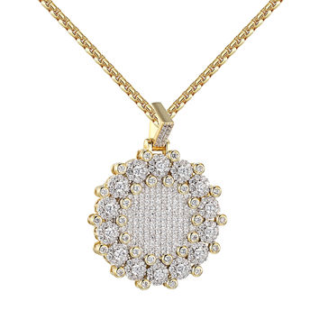 Solitaire Medallion Pendant Cluster Set Iced Out Hip Hop 14k Gold On 925 Silver