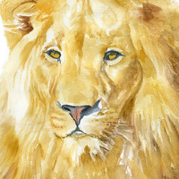 Lion Watercolor Painting - 4 x 6 - Giclee Print - Fine Art Print - African Animal - Nursery Art