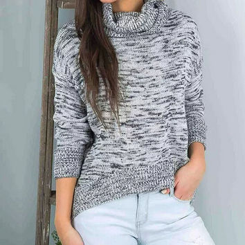 High collar loose long-sleeved sweater
