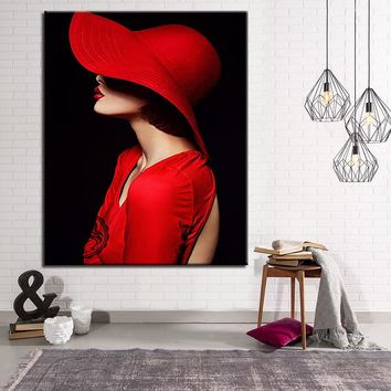 DIY Paintings By Numbers Kits Coloring Red Hat Woman Oil Pictures Hand Painted Fashion Modern Girl On Canvas Home Decor Wall Art