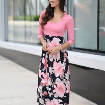 Pink and Navy Floral Maxi Dress