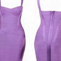 Purple Sleeveless Bandage Bodycon Dress