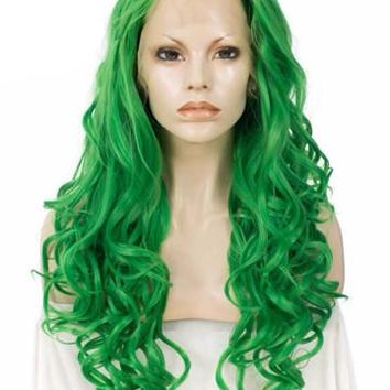 Bright Green Wave Long Synthetic Lace Front Wig