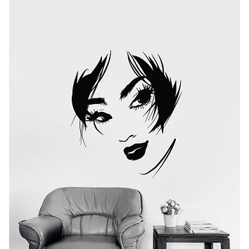 Vinyl Wall Decal Abstract Beautiful Girl Face Sexy Lips Eyes Stickers (3137ig)