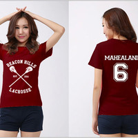 Beacon Hills Lacrosse Shirt MAHEALANI 6 Logo Black, White, Maroon Men & Women Unisex t-Shirt Tee S,M,L,XL,XXL #2