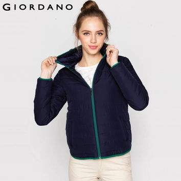 Giordano Women Jackets Puffer Zipper Hood Long Sleeved Jacket Solid Outerwears For Woman Quilted Clothing Warm Chaquetas