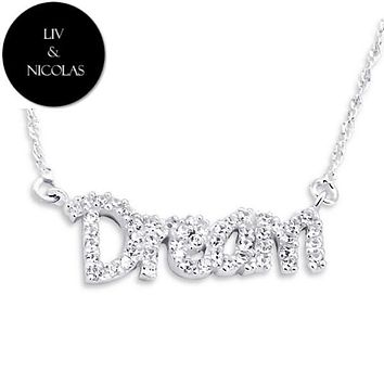 Solid 925 Sterling Silver White Cubic Zirconia Dream Necklaces
