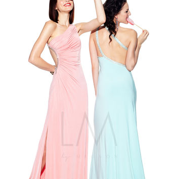 LM Collection 2013 Prom Dresses - Tea Rose Gathered One Shoulder Open Back Prom Dress