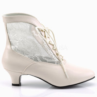 "Dame 05 Lace Panel Victorian Style Ankle Boots 2"" Heel 6-12 Ivory"