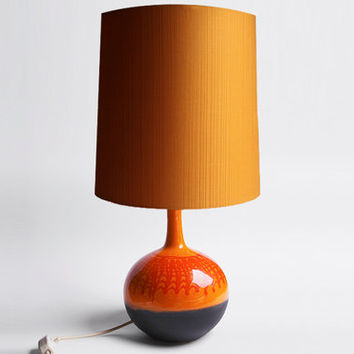 Modernist Very Rare Large Hutschenreuther 'Hartkeramik' Orange Table Lamp  by Renee Neue  - 60s 70s