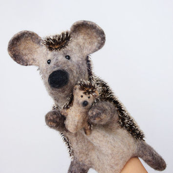the European hedgehog hand puppet, wet felted, with a tiny baby hedgehog finger puppet, MADE TO ORDER