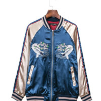 Blue Satin Bomber Jacket