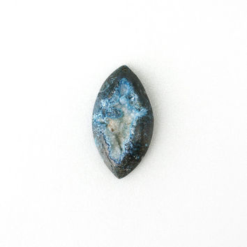 Pirate Blue Stone with White Crystal Quartz, Rare Druzy Gemstone, Undrilled 29x54mm, Stone Jewelry Supplies