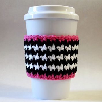 Crochet Striped Coffee Cozy Pink Black White