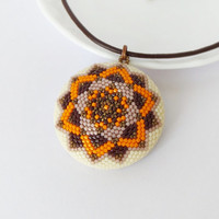 Mandala pendant, autumn jewelry, geometric pendant, modern pendant, orange brown beadwork pendant, statement necklace, fall fashion