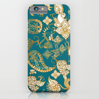 Golden Indian henna in green iPhone & iPod Case by Color And Color