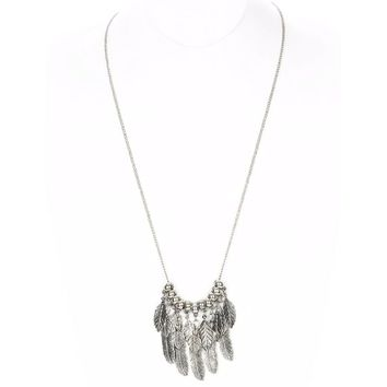 Antiqued Silver Feather Necklace