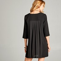 Pleated Back Shift Dress