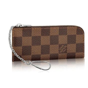 CREYV2S Louis Vuitton Damier Canvas 4 Key Holder Pochette Portachiavi Pouch Key Ring N63286 Made in France